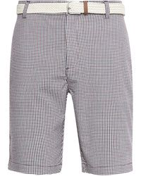 Burton Red And Navy Mini Check Belted Shorts - Blue