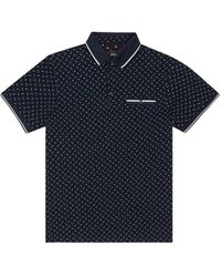 Burton Navy Geometric Polo Shirt - Blue