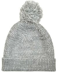 Burton - Grey Textured Knit Bobble Beanie Hat - Lyst