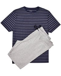Burton Grey And Navy Jersey Jacquard Pyjama Set