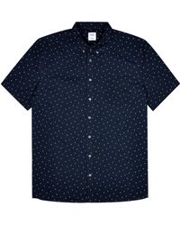 Burton Big & Tall Navy Short Sleeve Ditsy Oxford Shirt - Blue