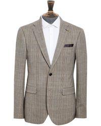 Burton Tan And Burgundy Highlight Slim Fit Blazer - Brown