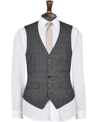 Burton Grey And Camel Highlight Tailored Fit Check Suit Waistcoat