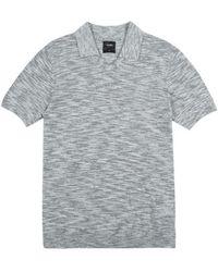 Burton - Grey Open Collar Fine Knitted Polo Shirt - Lyst