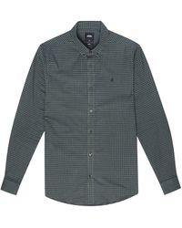 Burton Khaki Navy Long Sleeve Gingham Shirt - Blue