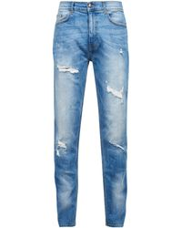 Burton Light Blue Carter Tapered Fit Jeans With Backed Rips