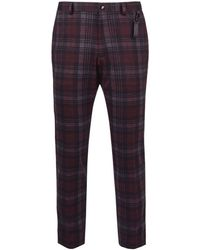Burton - Burgundy Skinny Fit Stretch Tartan Check Trousers - Lyst