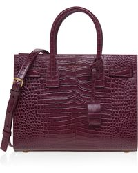 Sac De Jour Crocodile-stamped Satchel Bag, Red