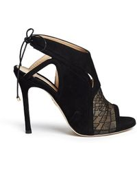 Chelsea Paris 'Ode' Lace Panel Suede Sandal Booties black - Lyst