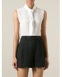 Guy Laroche Standing Collar Sleeveless Shirt - White
