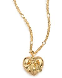 Gucci   18k Yellow Gold Bee Heart Pendant Necklace   Lyst