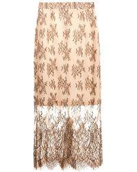 Freda Lace Pencil Skirt - Natural