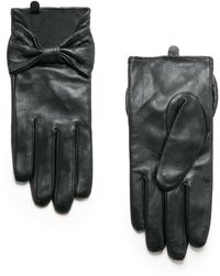 Mango Bow Leather Gloves - Lyst