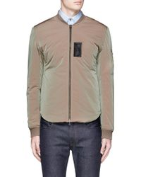 Acne | 'silas' Faux Leather Patch Bomber Jacket | Lyst
