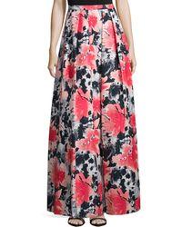 Carmen Marc Valvo - Pleated Floral-print Long Skirt - Lyst