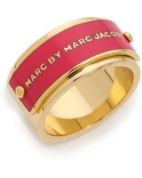 Marc By Marc Jacobs - Enamel Plaque Ring Black - Lyst