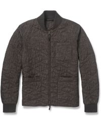 Incotex Montedoro Printed Quilted Bomber Jacket - Brown