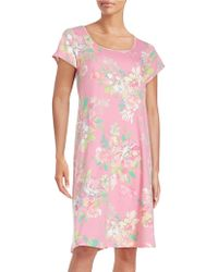 Miss Elaine - Floral Roundneck Nightgown - Lyst