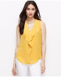 Ann Taylor Metro Dot Chiffon Ruffle Shell yellow - Lyst