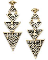 House of Harlow 1960 - Pavé Tribal Triangle Drop Earrings - Lyst