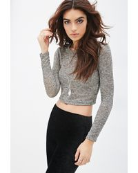 Forever 21 Metallic Knit Crop Top - Lyst