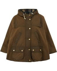 Barbour Olive Dales Waxed Storm Cape - Green