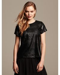 Banana Republic Perforated Faux-Leather Top - Lyst
