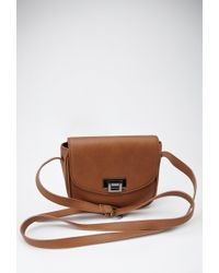 Forever 21 Buckled Faux Leather Crossbody - Lyst