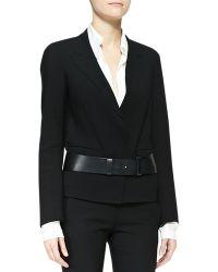 Donna Karan Slice Leather Belt - Black