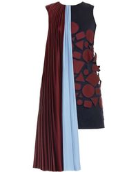 Mary Katrantzou Depanda Embroidered Draped-Shoulder Dress purple - Lyst