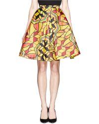 Chictopia - Geometric Print Flare Skirt - Lyst