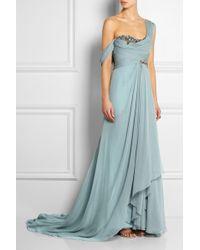 Marchesa One-Shoulder Embellished Silk-Georgette Gown - Lyst