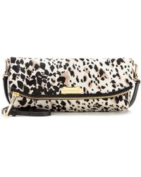 Burberry The Petal Printed Calf Hair Clutch - Black