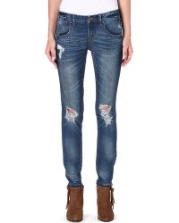 Free People Mid-rise Skinny Jeans - Lyst