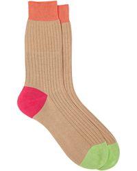 Richard James Men's Colorblocked Mid-calf Socks - Natural