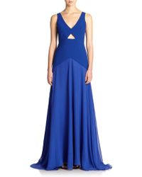Mason by Michelle Mason Cutout Crepe/Silk Paneled Gown - Lyst