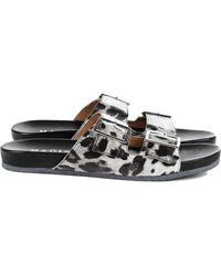 Madison Et Cie Lisette Leopard Printed Leather Footbed Sandals - Lyst