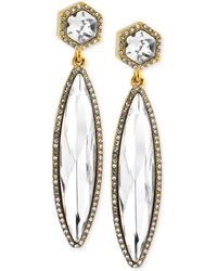 Vince Camuto - Goldtone Faceted Stone and Pave Crystal Linear Drop Earrings - Lyst