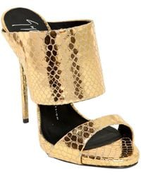 Giuseppe Zanotti 130Mm Python Printed Leather Sandals - Lyst