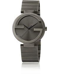 Gucci Interlocking G Grey Pvd Watch - Lyst