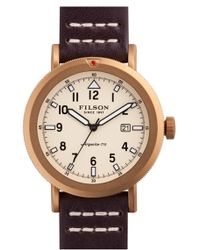 Filson | 'scout' Leather Strap Watch | Lyst