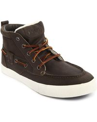 Polo Ralph Lauren Olive Leather Lined Sneakers, Tristen - Lyst