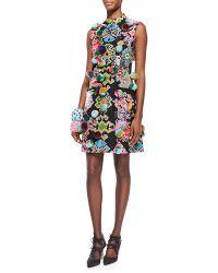 Libertine - Pompom Embellished Geometric-Print Dress - Lyst
