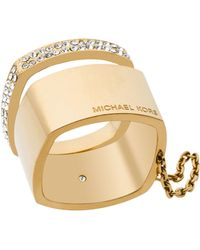 Michael Kors - Pave Logo Stacked Band Rings - Lyst