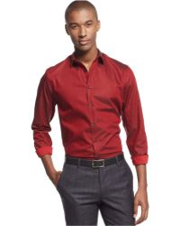 Inc International Concepts Red Non-iron Shirt - Lyst