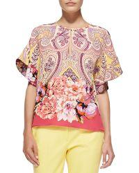 Etro Paisley  Floral Keyhole Blouse - Lyst