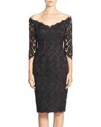 Helen Morley - Off The Shoulder Guipure Lace Cocktail Sheath Dress - Lyst