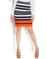 Michael Kors Michael Petite Striped Pencil Skirt - Lyst