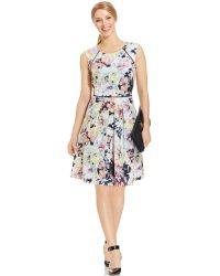 Tahari Asl Floral-Print Pleated Scuba Dress multicolor - Lyst