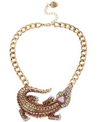Betsey Johnson Crystallized Alligator Frontal Necklace - Lyst